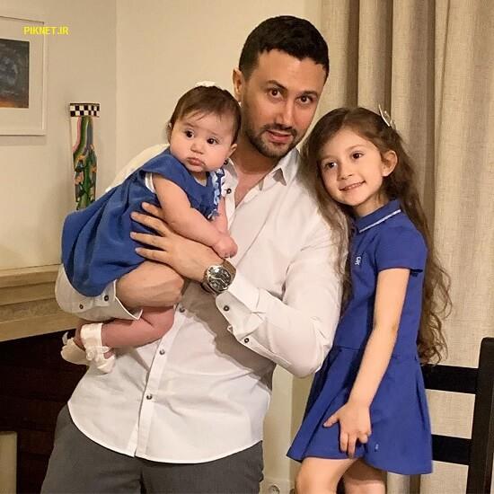 شاهرخ استخری همراه با دو دخترش پناه و نبات